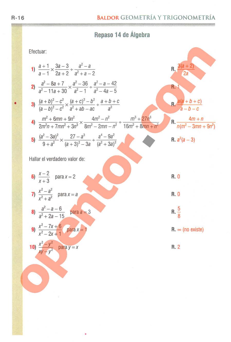 Geometría y Trigonometría de Baldor - Página R16