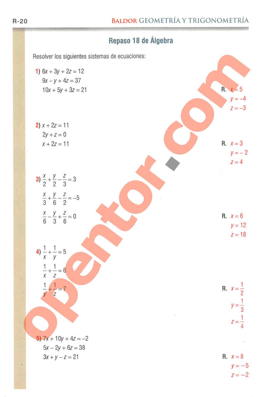 Geometría y Trigonometría de Baldor - Página R20