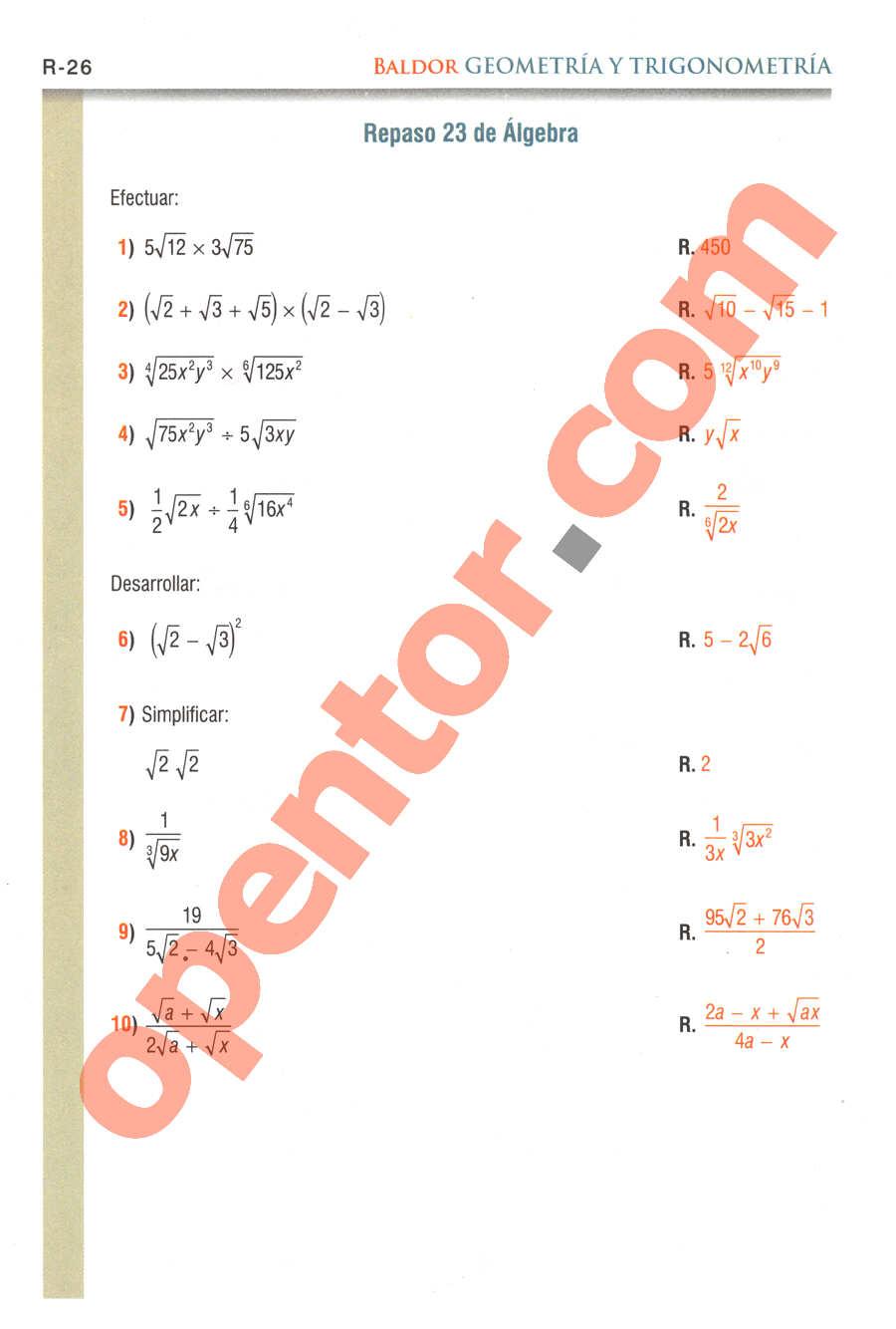 Geometría y Trigonometría de Baldor - Página R26