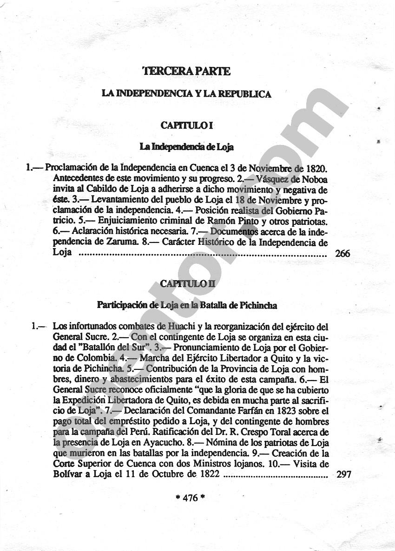 Historia de Loja y su provincia - Índice de contenidos